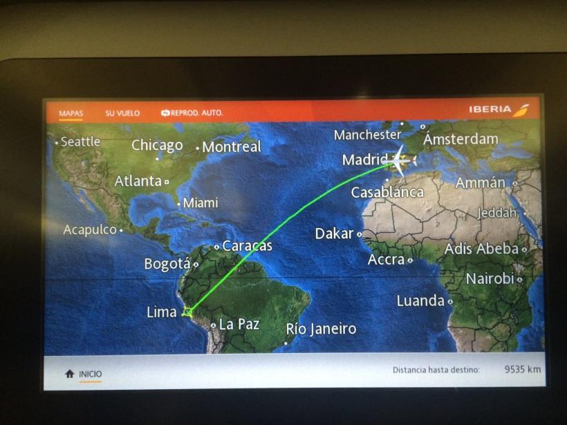Pantalla con Viaje Madrid Lima