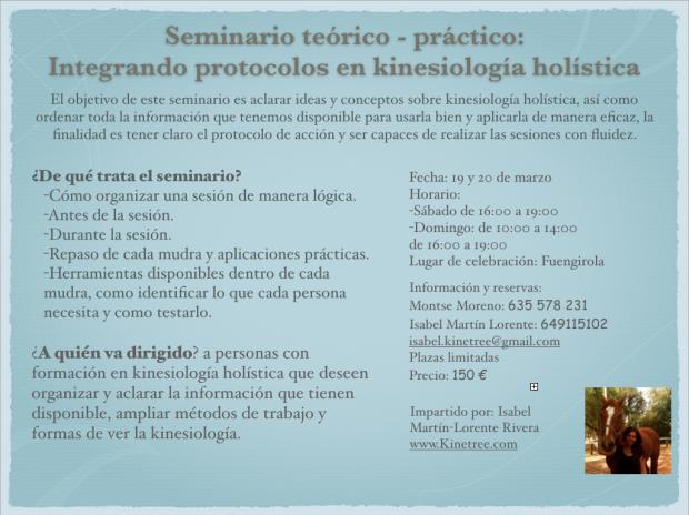 Seminario kinesiología holística Málaga