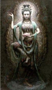 Diosa kuan Yin con mudra en las manos